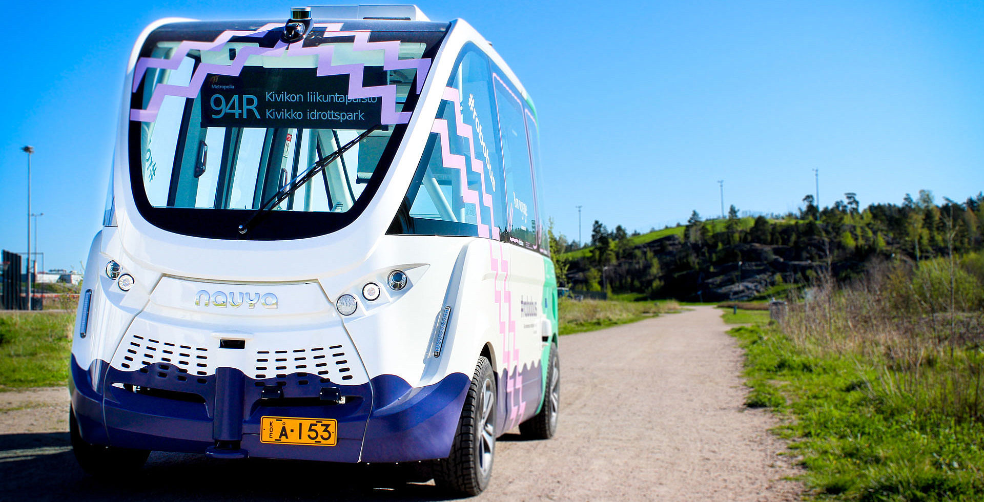 The self-driving electric minibus of Helsinki bus line 94R (picture: Milla Aman/Oscar Nissin)